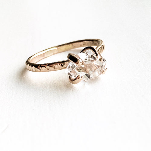 HERKIMER DIAMOND CRYSTAL RING - GOLD - SIZE 9