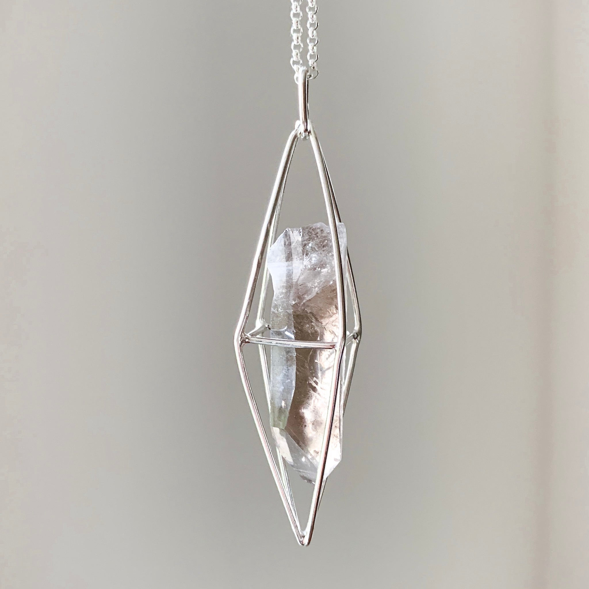 CAGED CRYSTAL - SILVER - SMOKY QUARTZ