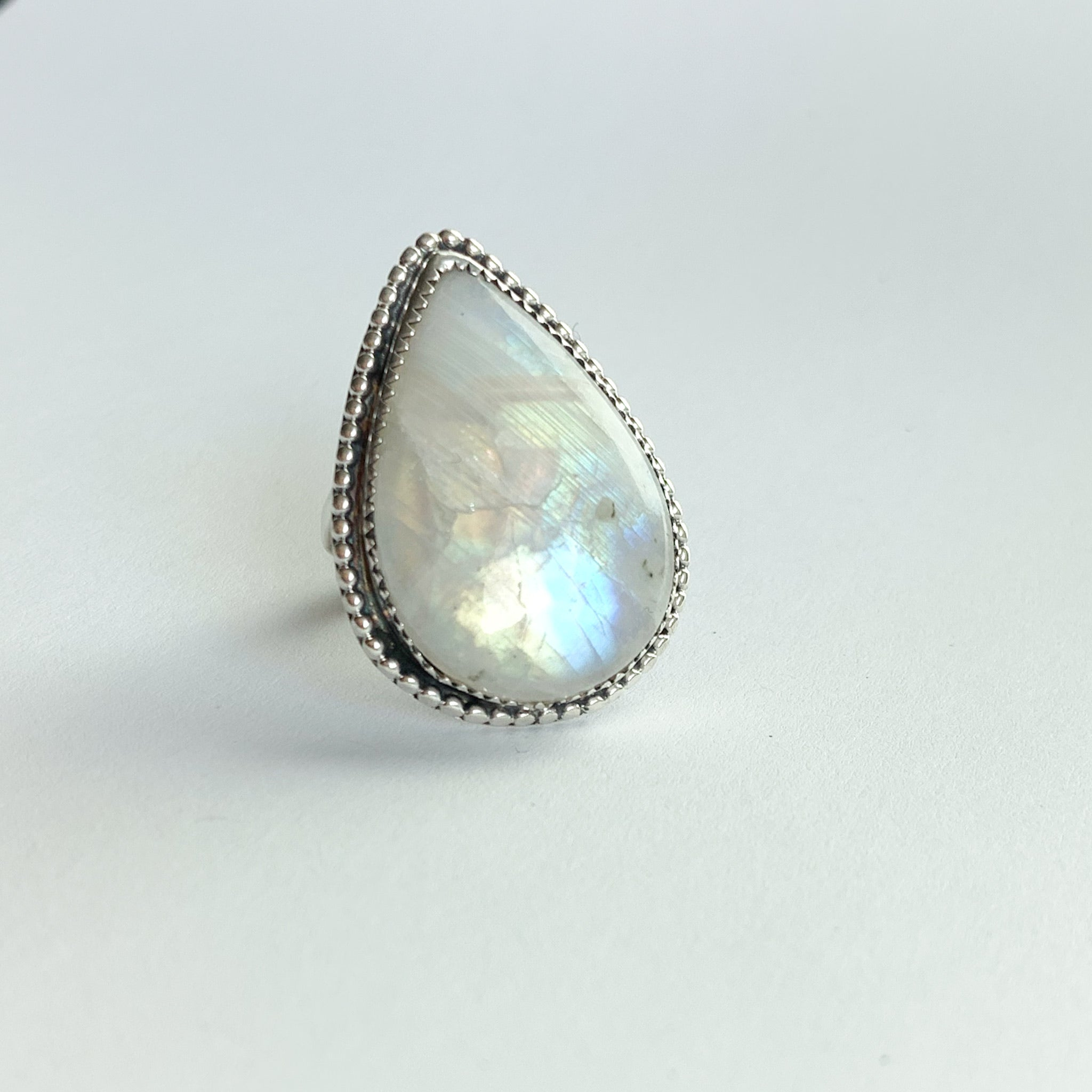 Moonstone ring - silver - beading