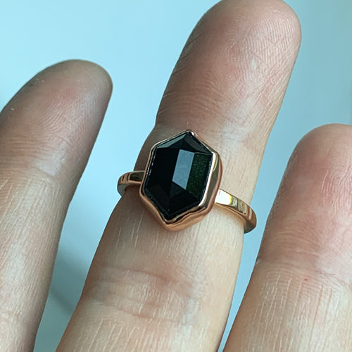 Black Onyx hex ring  - rose gold - size 6.5