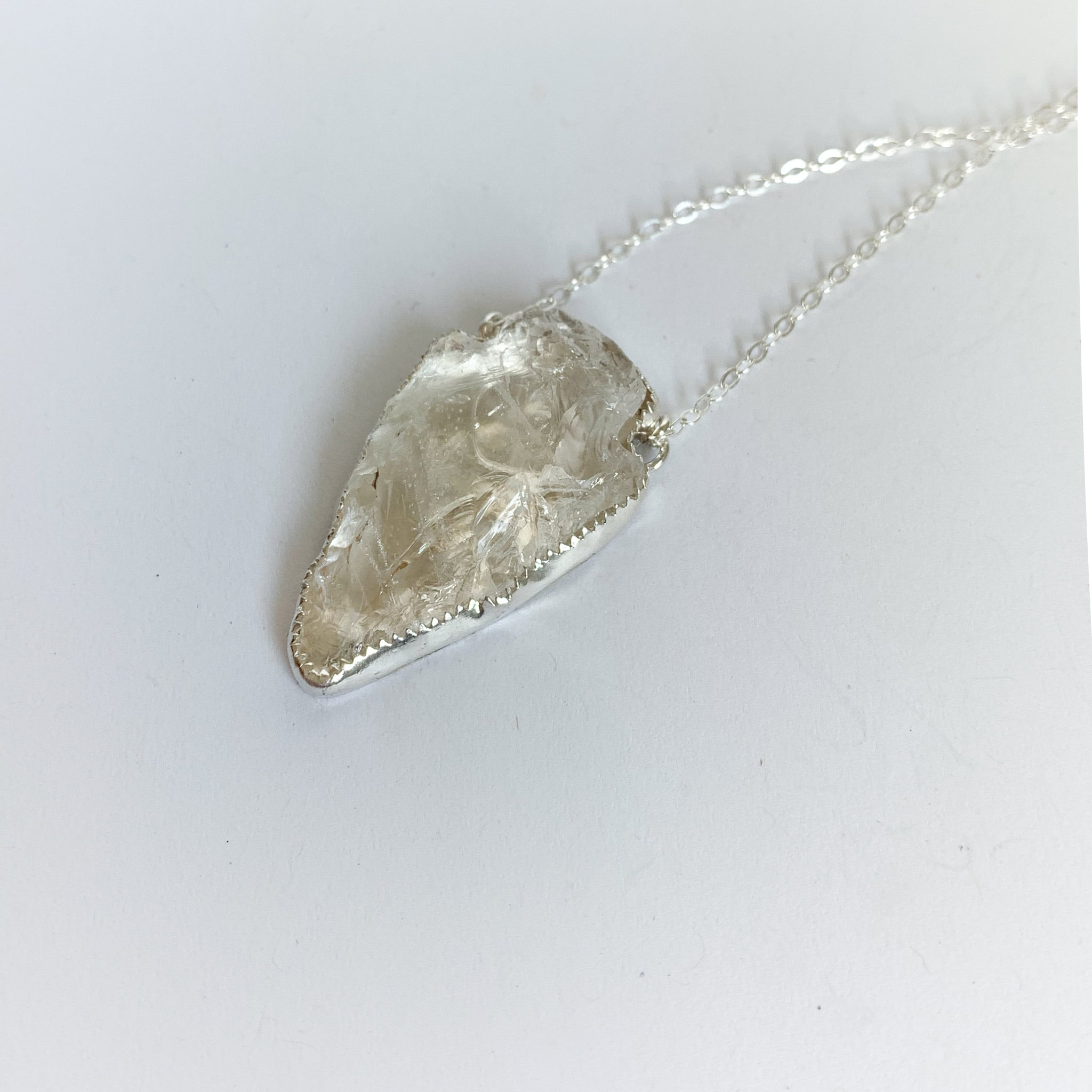 Quartz crystal arrowhead necklace