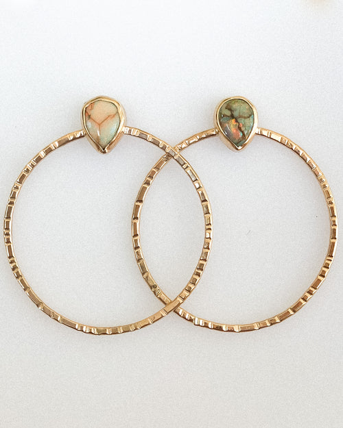 Monarch opal hoops- gold