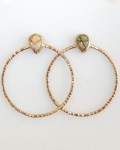 Monarch opal hoops- silver