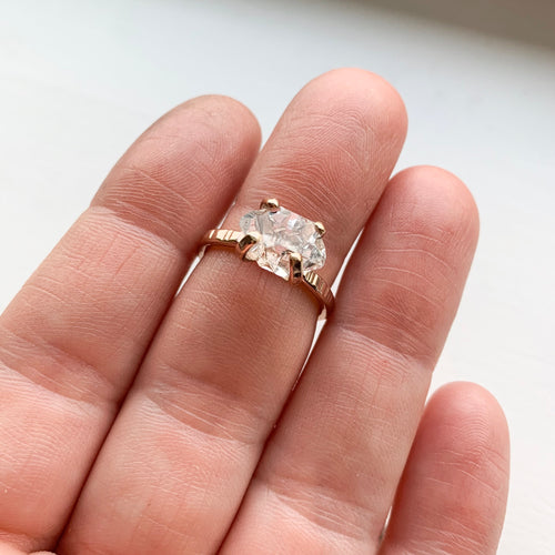 HERKIMER DIAMOND CRYSTAL RING - ROSE GOLD - SIZE 6