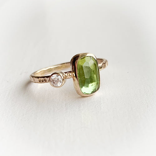 Tourmaline ring - gold - size 8