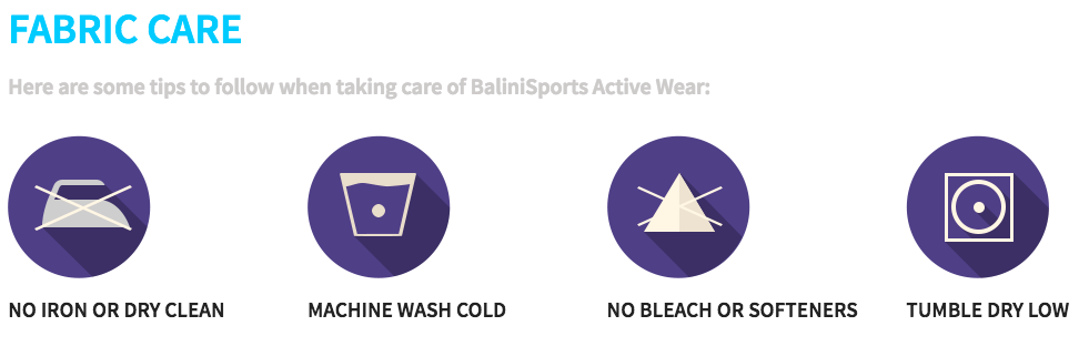 BaliniSports Fabrics - Fabric Care
