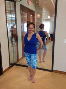 Ruth wearing raindrop yoga capri