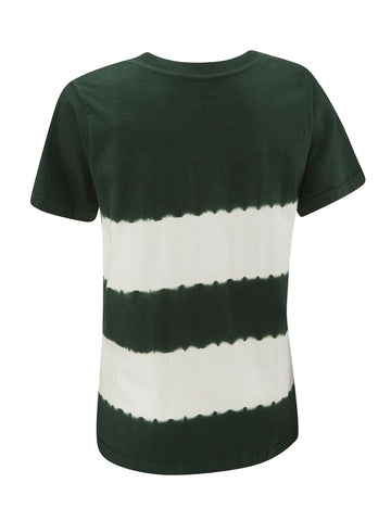 Tie Dye Repeater Ladies Tee - Hunter Green Stripe