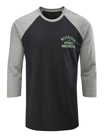 BC Revisited 3/4 Sleeve Raglan Tee - Black