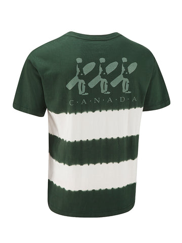 Tie Dye Boarder Tee - Hunter Green Stripe