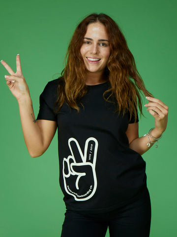 Peace Glove Ladies Tee - Black