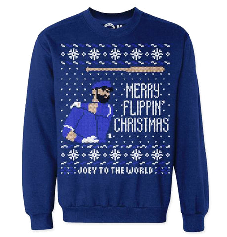 Joey Jose Bautista Licensed Screen Printed Ugly Christmas Bat Flip Sweaters