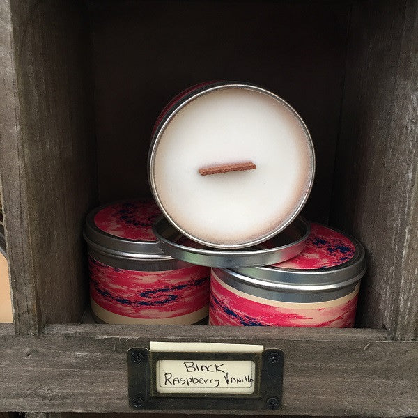 Black Raspberry Vanilla Wood Wick Soy Candle-Chickenmash Farm