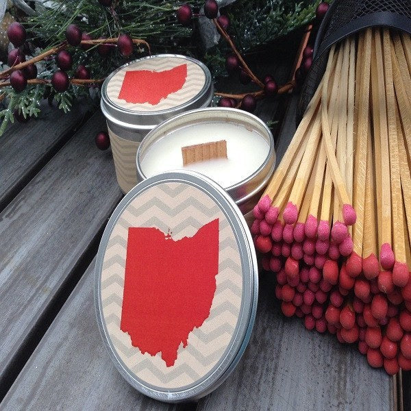 Buckeye Wood Wick Soy Candle OSU Buckeye Fan Candle-Chickenmash Farm