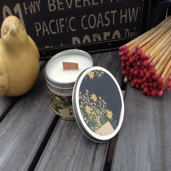 Citrus Basil Wood Wick Soy Candle-Chickenmash Farm