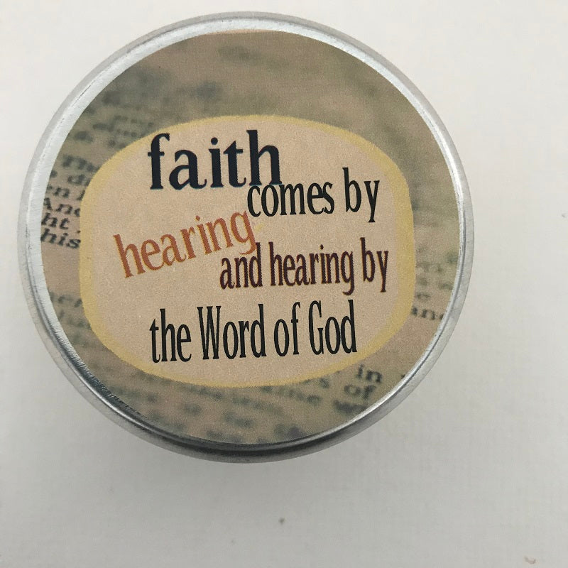 Faith Comes By Hearing Inspirational Candle | Amazing Grace Fragrance-Chickenmash Farm
