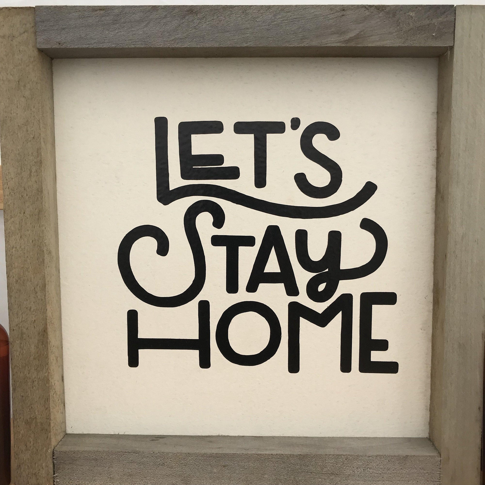 Let's Stay Home Sign Farmhouse Style Wall Hanging Wood Frame Sign-Chickenmash Farm