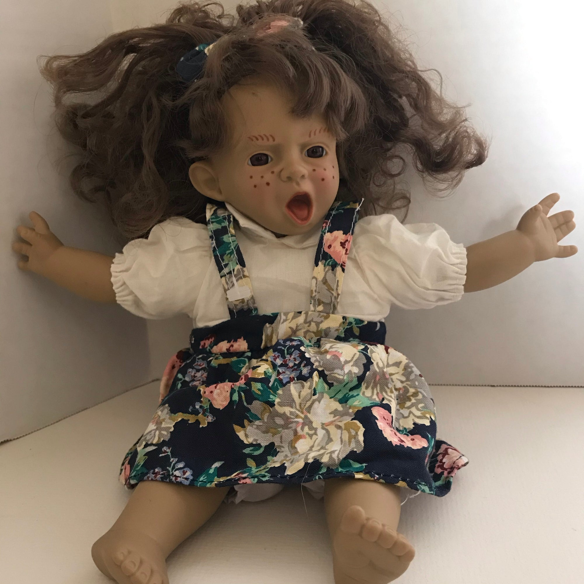 "Expressions Vintage Pouting Doll 10"" Girl Doll Curly Hair Doll-Chickenmash Farm"