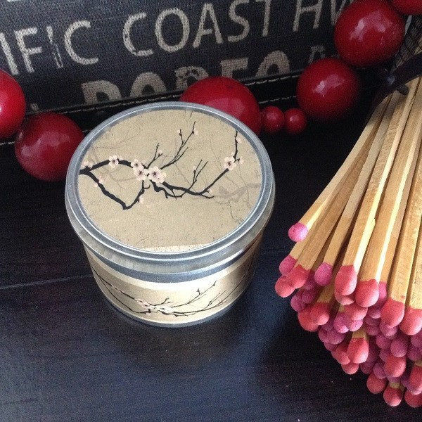 Japanese Cherry Blossom Wood Wick Soy Candle-Chickenmash Farm