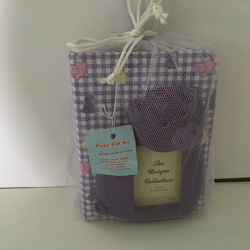 Newborn Baby Photo Album Gift Set Puple Piggy Pattern Baby Gift-Chickenmash Farm