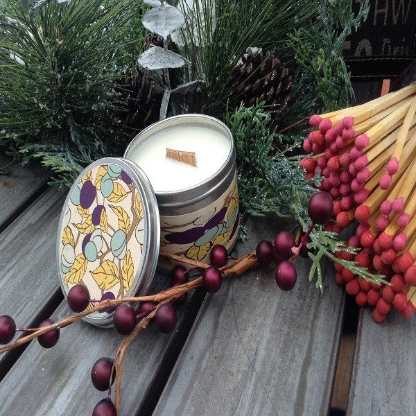 Plum Sandalwood Wood Wick Soy Candle-Chickenmash Farm