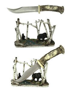 Bear Wildlife Hunting Knife With Display Knives