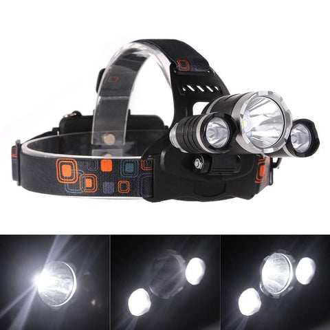 Lemonbest 3 Led Headlight Xml T6 5000Lm Headlamp Frontale 4 Mode Head Torch Lights With Car Charger 18650 Battery (Including) Headlamps