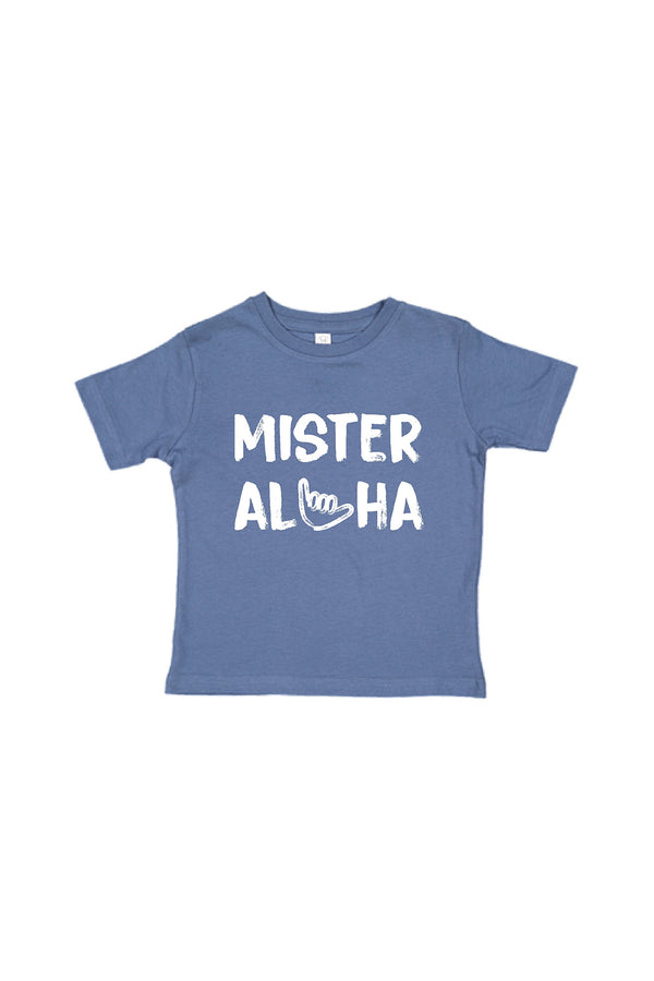 Honolulu Baby Co. - Mister Aloha Shaka Tee in Blue, Kids Top at Kira Hawaii
