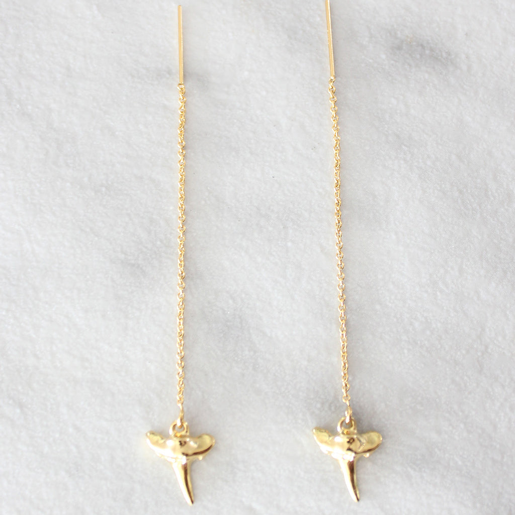 Kira Hawaii - Shark Tooth Vermeil Threader Earrings GF, Jewelry at Kira Hawaii