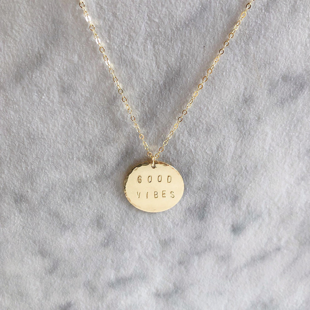 "Kira Hawaii  - Stamped Necklace Circle Disc | 30"" / 14k Gold Filled / Good Vibes"
