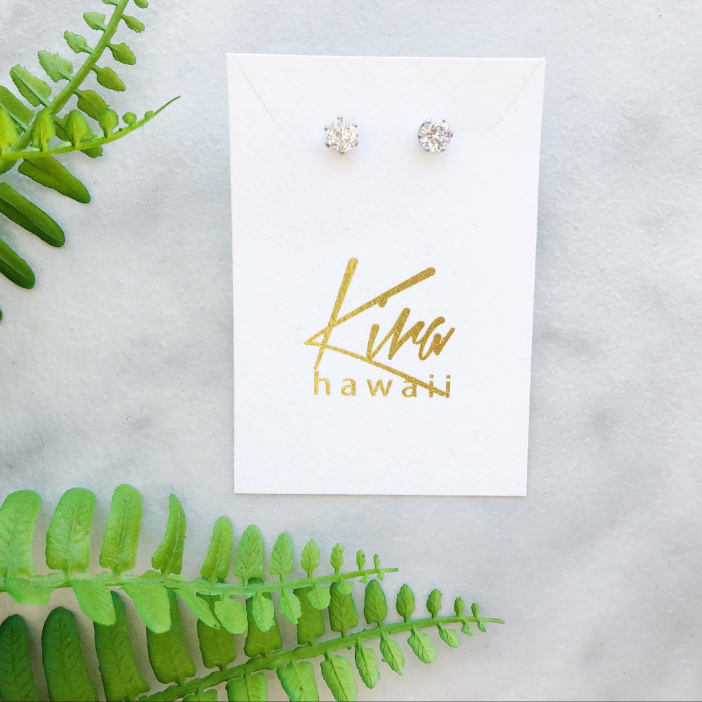 Kira Hawaii  - Surgical Steel CZ Studs | Circle / Silver / Medium