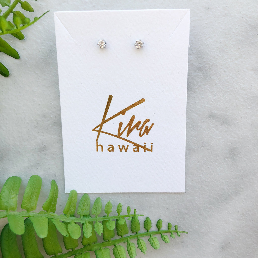 Kira Hawaii  - Surgical Steel CZ Studs | Circle / Silver / Small