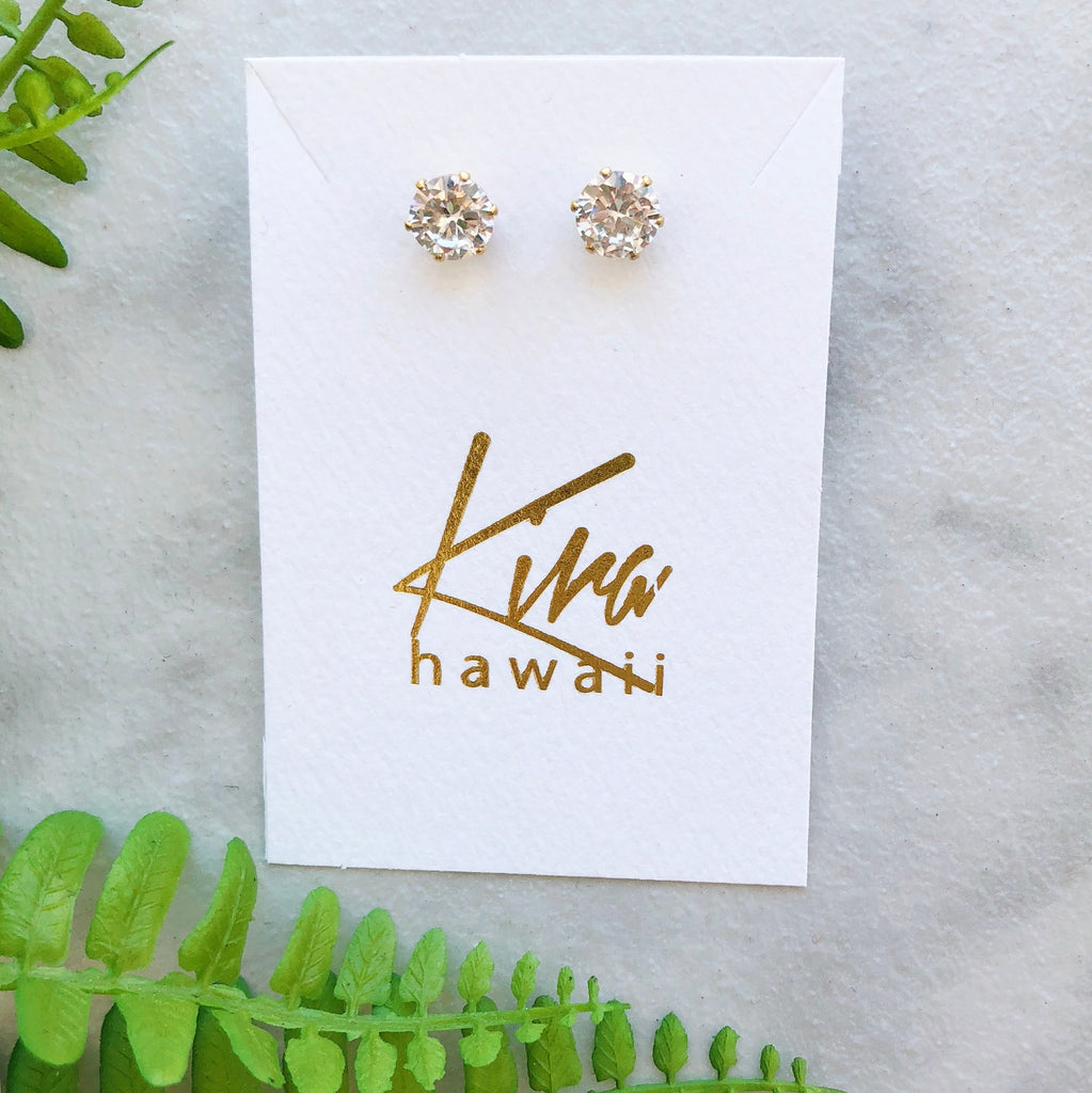 Kira Hawaii  - Surgical Steel CZ Studs | Circle / Gold / Large