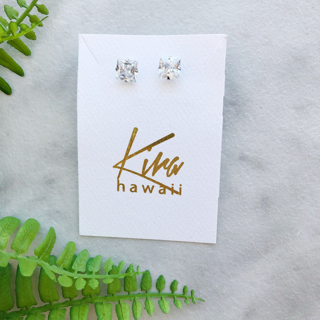Kira Hawaii  - Surgical Steel CZ Studs | Square / Silver / Large