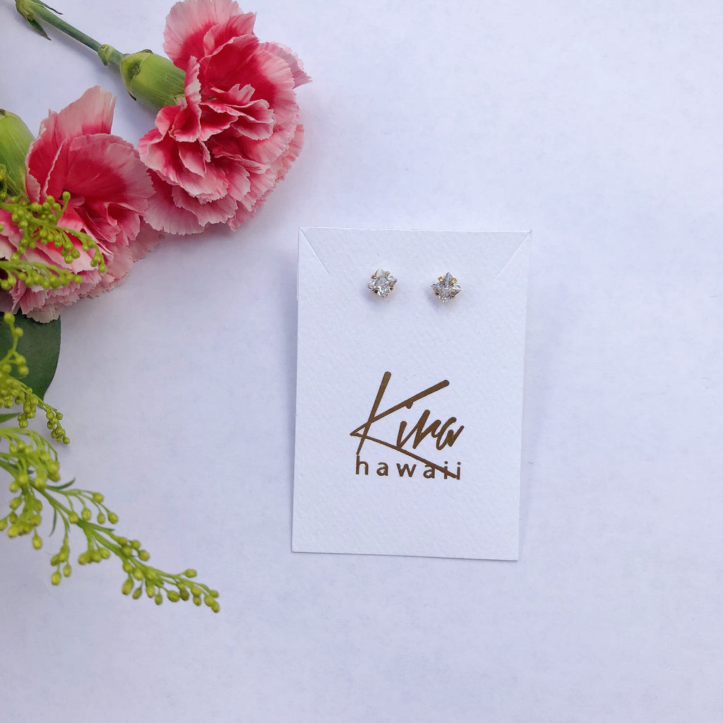 Kira Hawaii  - Surgical Steel CZ Studs | Square / Silver / Medium