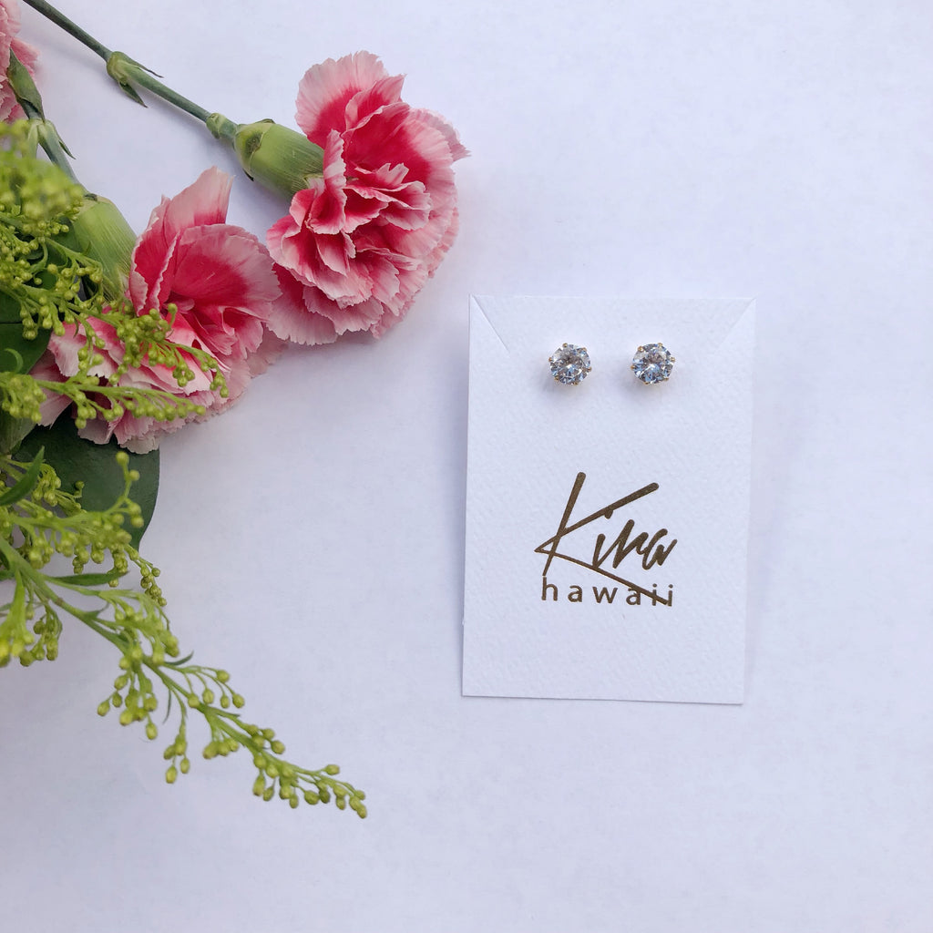 Kira Hawaii  - Surgical Steel CZ Studs | Circle / Silver / Large