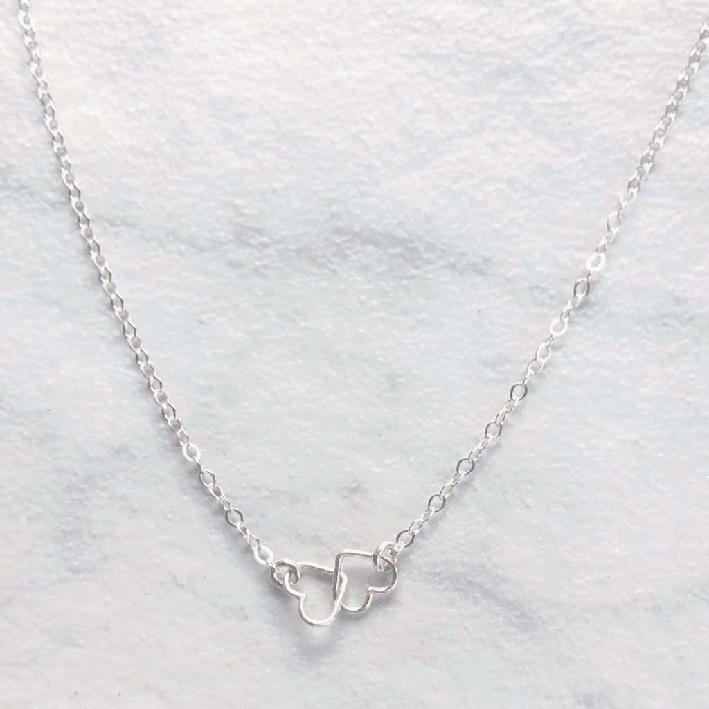 "Kira Hawaii  - Heart To Heart Necklace | 15"" / Sterling Silver"