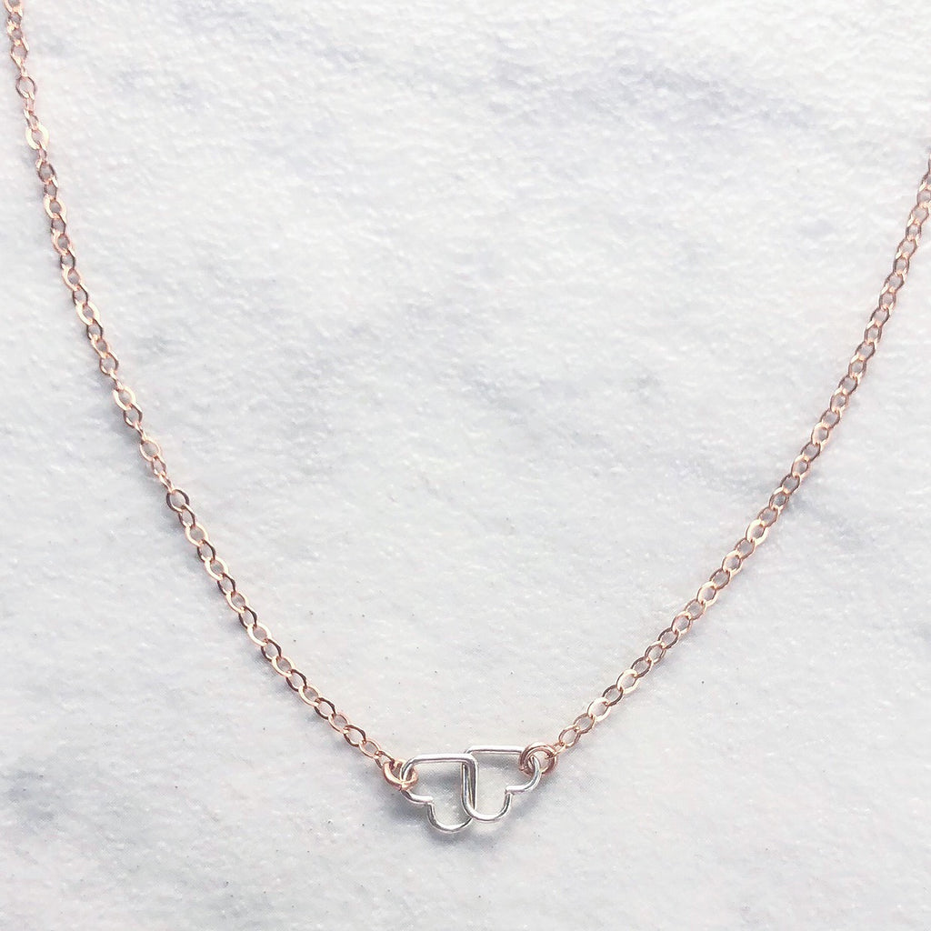 "Kira Hawaii  - Heart To Heart Necklace | 15"" / 14k Rose Gold Filled"