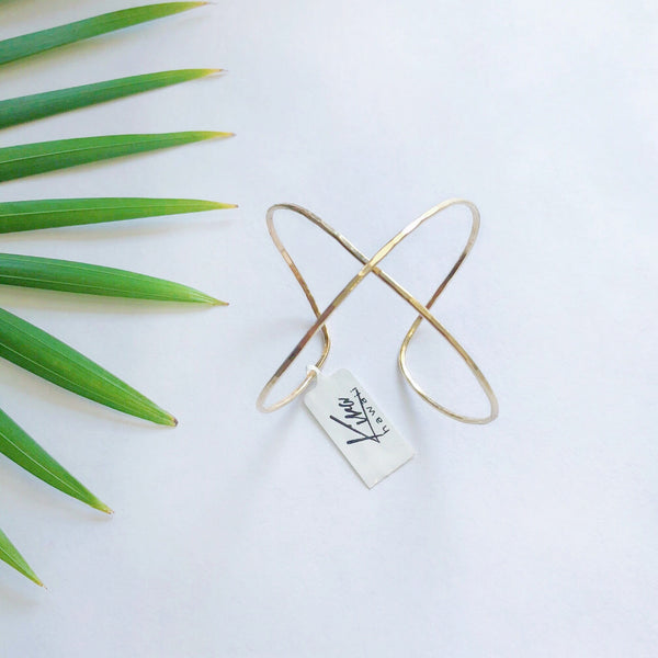 Kira Hawaii  - Baby X Cuff, Kira Hawaii Jewelry | 14k Gold Filled