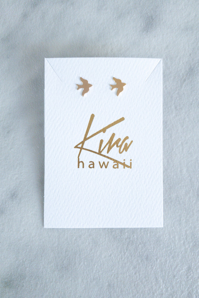 Kira Hawaii - Swallow Stud Earrings - 14k Gold Filled, Jewelry at Kira Hawaii