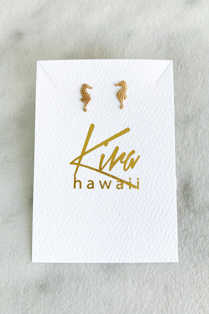 Kira Hawaii - Seahorse Stud Earrings - 14k Gold Filled, Jewelry at Kira Hawaii