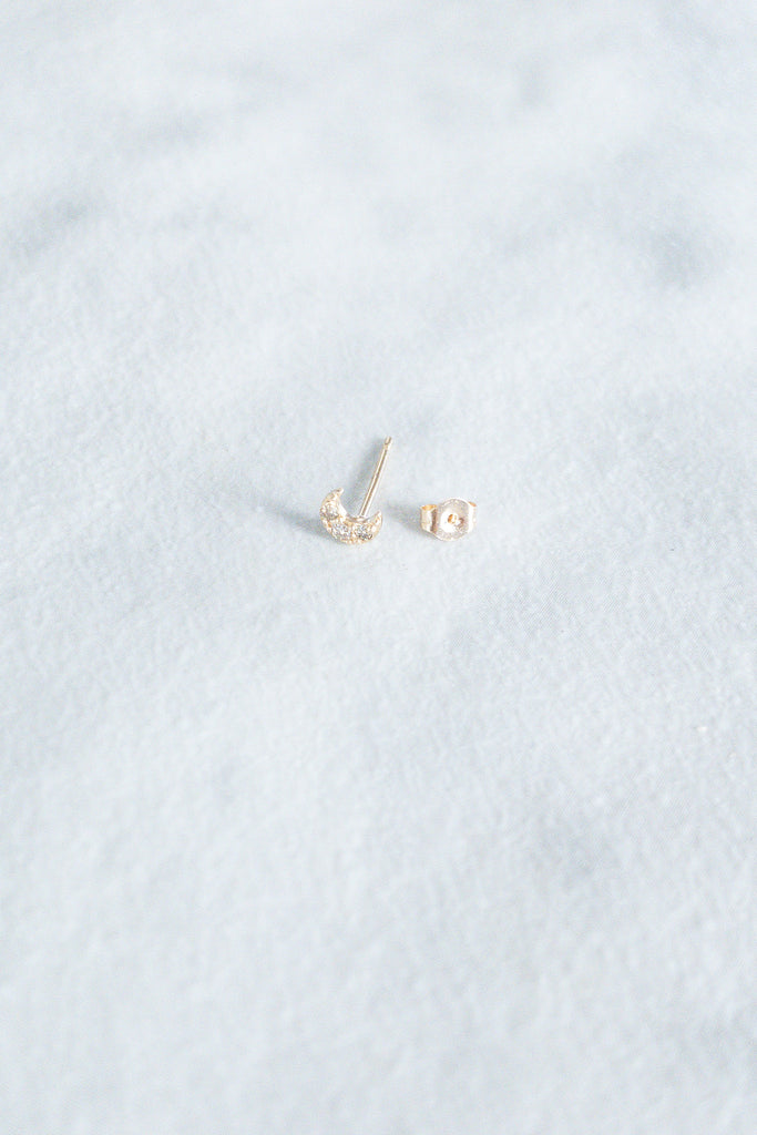 Kira Hawaii - Mini Crescent Moon Stud with Diamonds- 14k Yellow Gold, Jewelry at Kira Hawaii