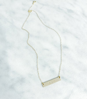 Kira Hawaii  - Custom Stamp Necklace, Kira Hawaii Jewelry | Bar / Sterling Silver