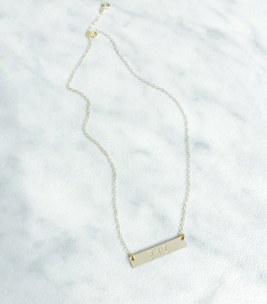 Kira Hawaii  - Custom Stamp Necklace | Bar / Sterling Silver