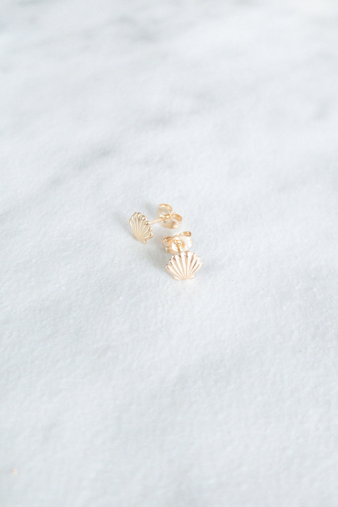 Kira Hawaii - Shell Stud Earrings - 14k Gold Filled, Jewelry at Kira Hawaii