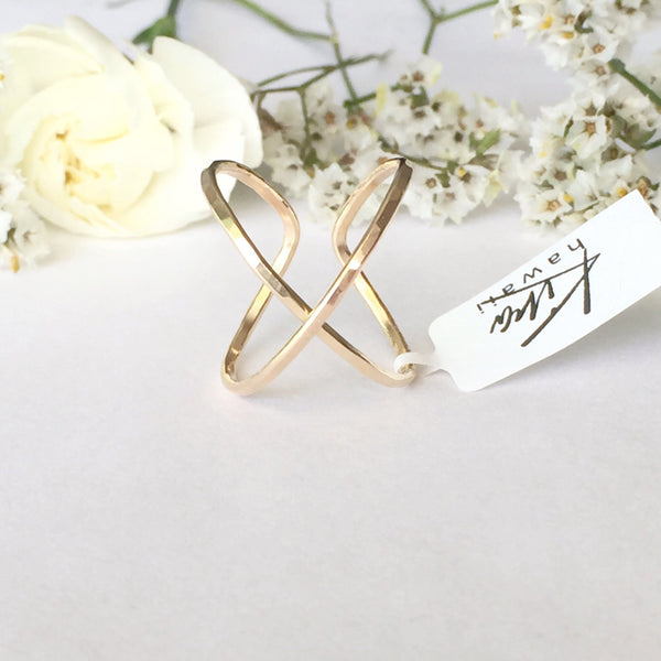 Kira Hawaii  - X Cuff Ring, Kira Hawaii Jewelry | 14k Gold Filled / Small