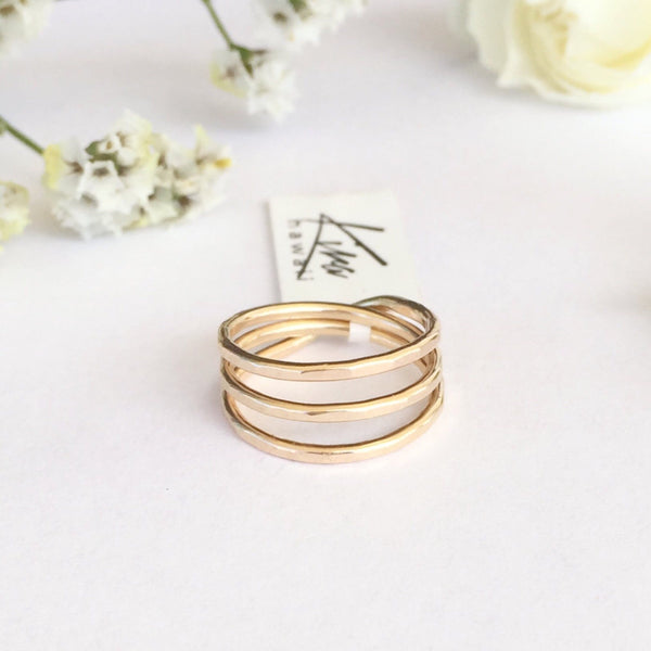 Kira Hawaii  - Three Wishes Ring, Kira Hawaii Jewelry | 14k Gold Filled / 3
