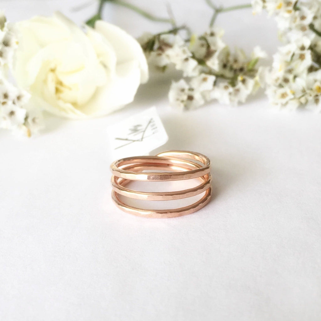 Kira Hawaii  - Three Wishes Ring | 14k Rose Gold Filled / 3