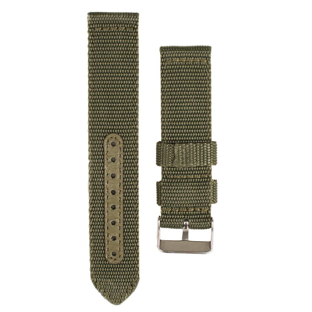 Green nylon watch strap for Woodzee wooden watch