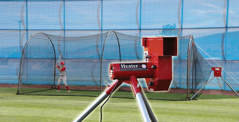 Heater Sports Baseball Machine & Xtender 24 Ft. Cage - Wheel House Pitching Machines